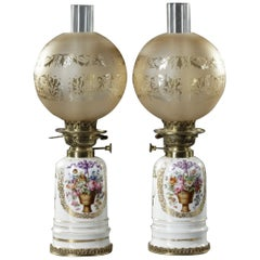 Pair of White Porcelain Lamps, 19th Century