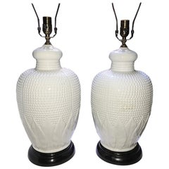 Pair of White Porcelain Table Lamps