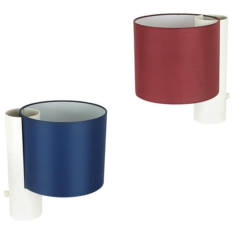Pair of White Red Blue Fluette 1970s Table Lamps, G. Gramigna for Quattrifoglio For Sale