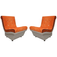 Pair of White Resin Plastic and Orange Velvet Armchairs, 1960