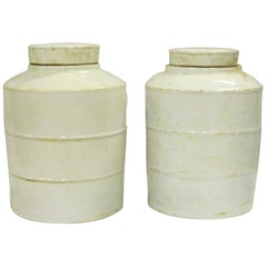 Pair of White Ribbed Round Jars with Lids, China, Contemporary
