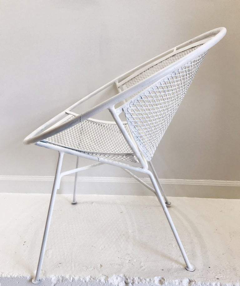 Pair of White Salterini Radar/Hoop Chairs by Maurizio Tempestini, Restored For Sale 2