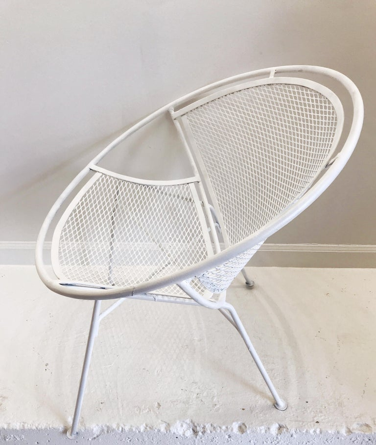 Pair of White Salterini Radar/Hoop Chairs by Maurizio Tempestini, Restored For Sale 3