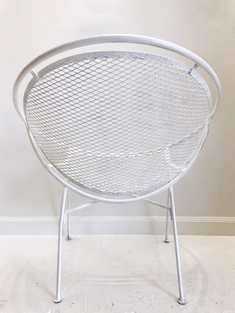 Pair of White Salterini Radar/Hoop Chairs by Maurizio Tempestini, Restored For Sale 4
