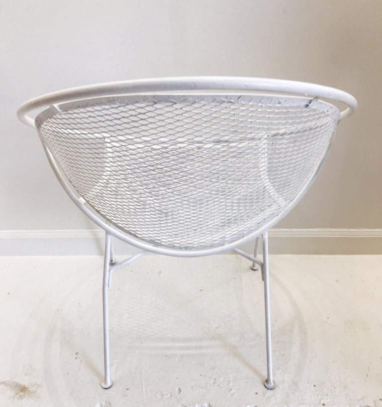 Pair of White Salterini Radar/Hoop Chairs by Maurizio Tempestini, Restored For Sale 5