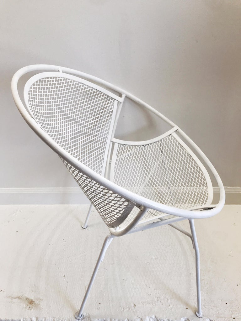 Pair of White Salterini Radar/Hoop Chairs by Maurizio Tempestini, Restored For Sale 7