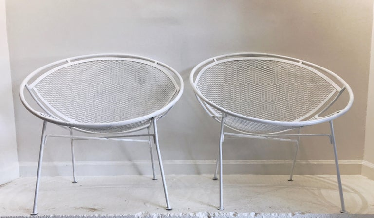 American Pair of White Salterini Radar/Hoop Chairs by Maurizio Tempestini, Restored For Sale