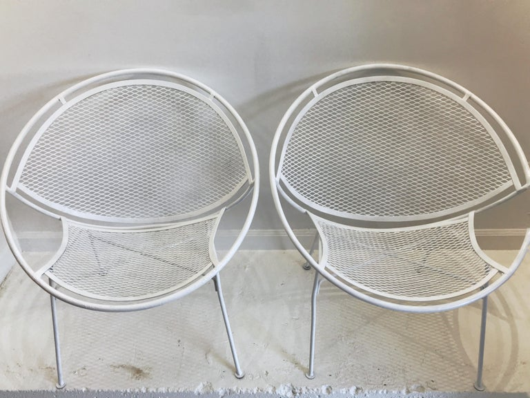 Painted Pair of White Salterini Radar/Hoop Chairs by Maurizio Tempestini, Restored For Sale