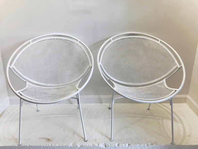 20th Century Pair of White Salterini Radar/Hoop Chairs by Maurizio Tempestini, Restored For Sale
