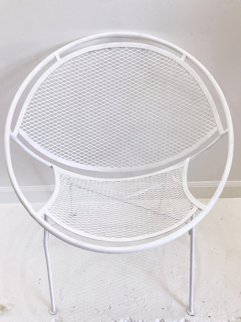 Iron Pair of White Salterini Radar/Hoop Chairs by Maurizio Tempestini, Restored For Sale