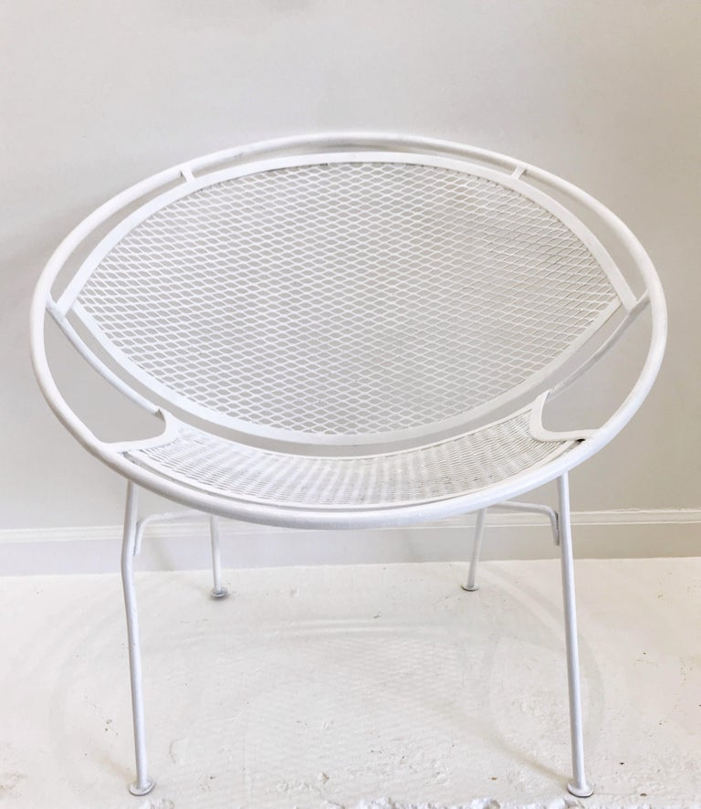 Pair of White Salterini Radar/Hoop Chairs by Maurizio Tempestini, Restored For Sale 1