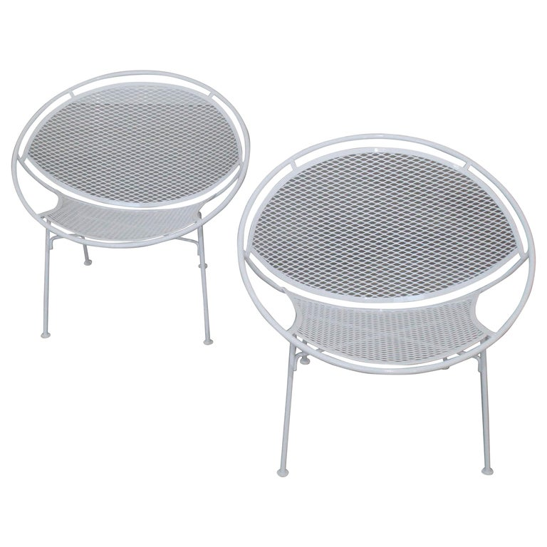 Pair of White Salterini Radar/Hoop Chairs by Maurizio Tempestini, Restored For Sale