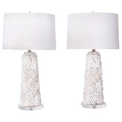 Pair of White Seashell Floral Design Table Lamps
