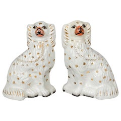 Pair of White Staffordshire Dogs