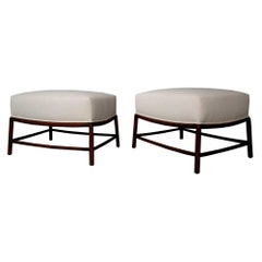 Pair of white Stools by T.H. Robsjohn-Gibbings in Fabric and Wood Restored 1950s