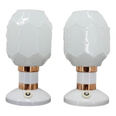 Pair of White Table Lamps, 1960s