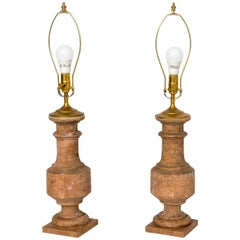 Pair of White Terracotta Baluster Table Lamps