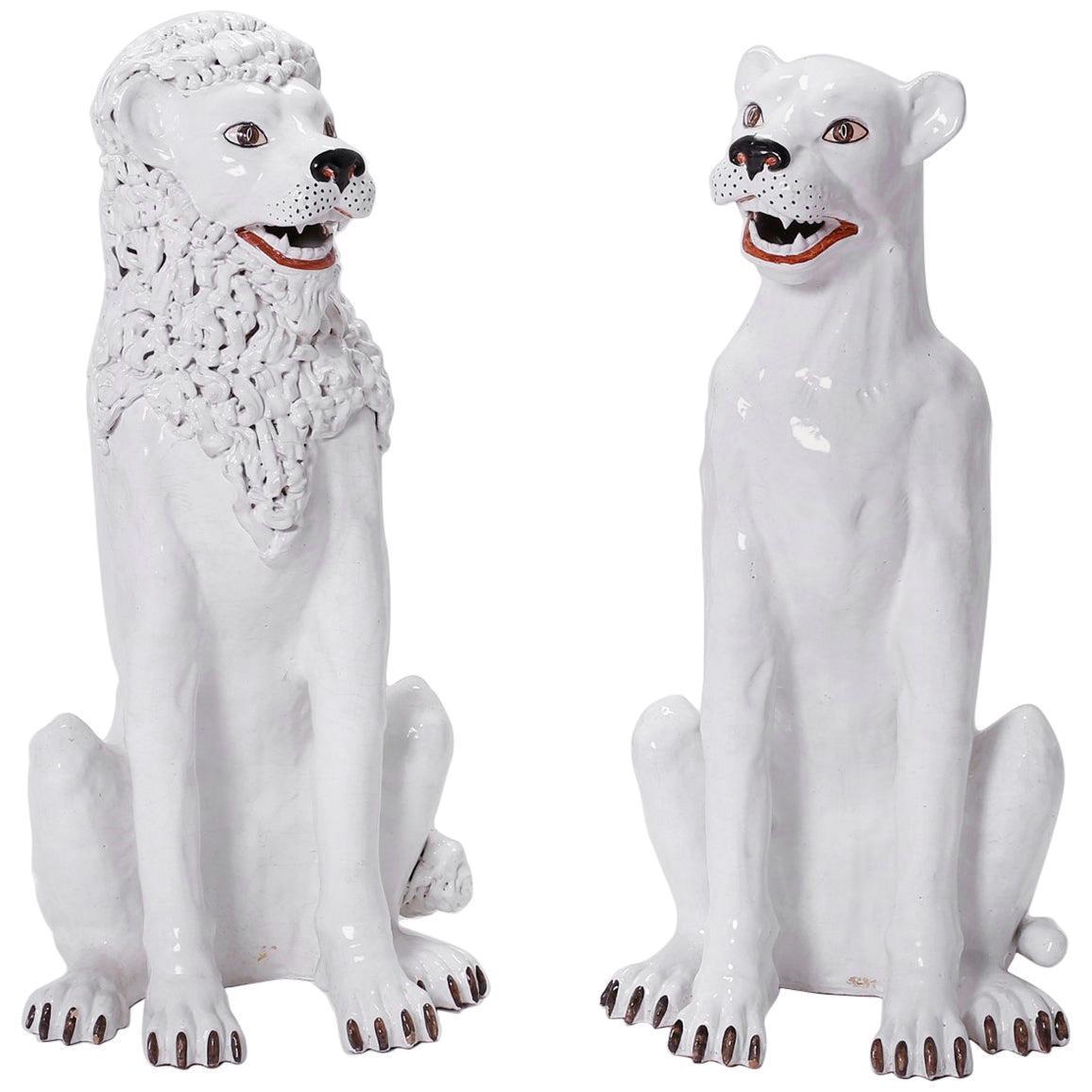Pair of White Terracotta Lions