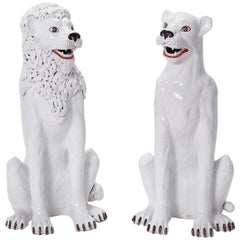 Pair of White Terracotta Lions