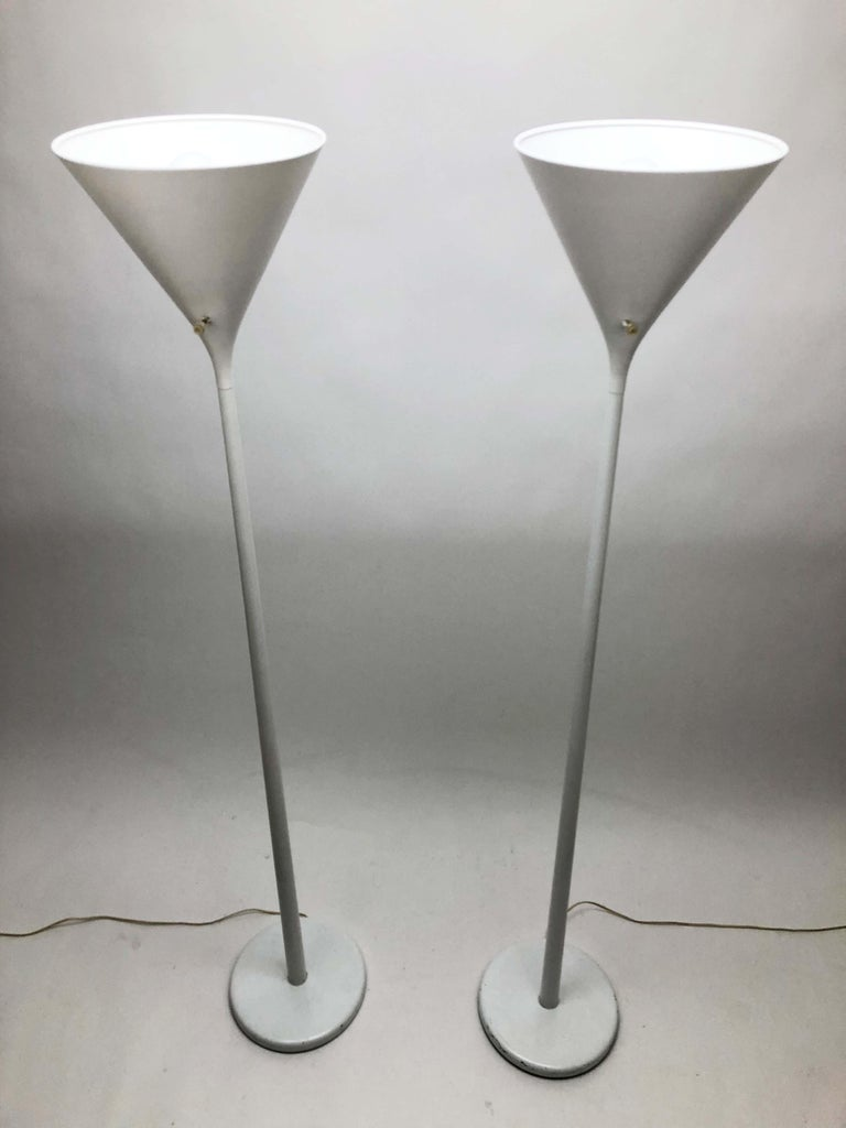 American Pair of White Torchieres by Walter Von Nessen For Sale
