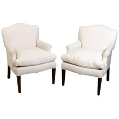 Pair of White Upholstered Armchairs