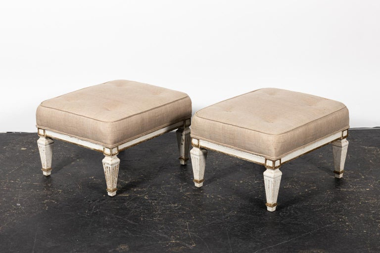 Pair of White Upholstered Benches with Tufted Seats For Sale 1