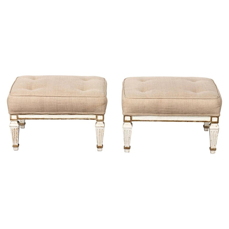 Pair of White Upholstered Benches with Tufted Seats For Sale