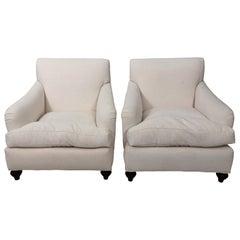 Pair of White Upholstered Bridgewater Style Club Chairs