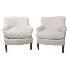 Pair of White Upholstered Decorator Armchairs