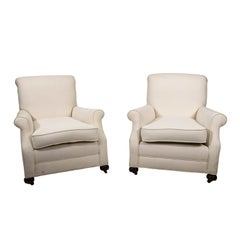 Pair of White Upholstered English Club Chairs