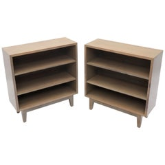 Pair of White Wash Finish Solid Mahogany Bookcases Cabinets