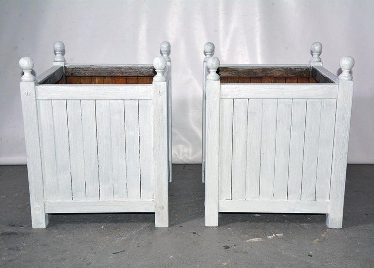 Napoleon III Pair of White Washed Caisse De Versailles Planters For Sale