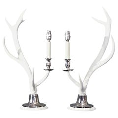 Pair of White Washed Natural Antler Table Lamps