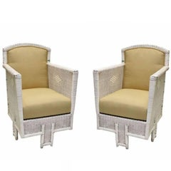 Pair of White Wicker Chairs