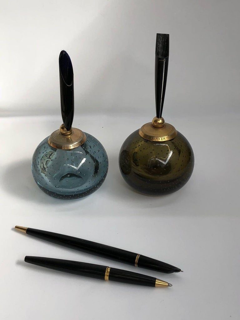 English Pair of Whitefriars Glass Paperweight Parker Penholders, 1960s For Sale