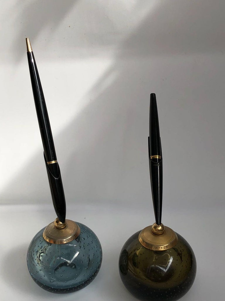 20th Century Pair of Whitefriars Glass Paperweight Parker Penholders, 1960s For Sale