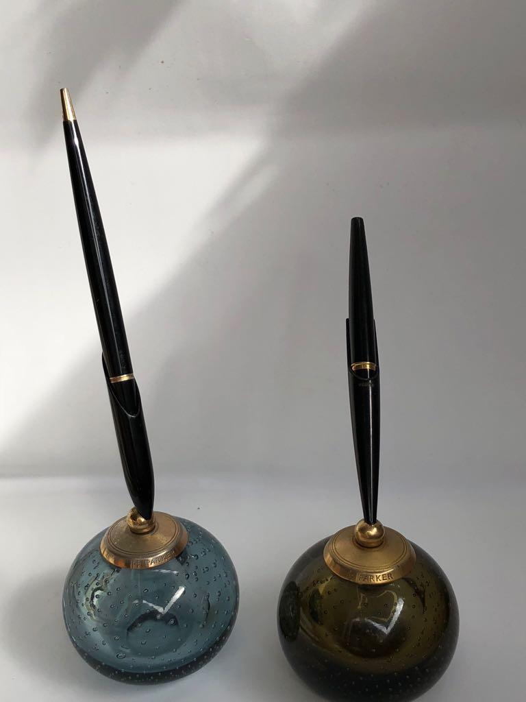 Pair of Whitefriars Glass Paperweight Parker Penholders, 1960s For Sale 1