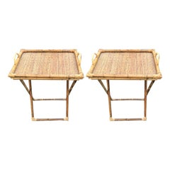 Pair of Wicker and Bamboo Tray Tables
