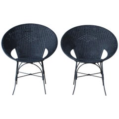 Pair of Wicker and Iron Chairs, France, 1950s