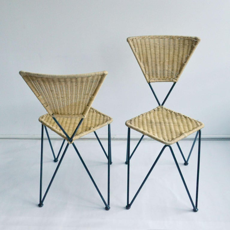 Pair of Wicker and Metal Dining Chairs, Vienna, 1950 2
