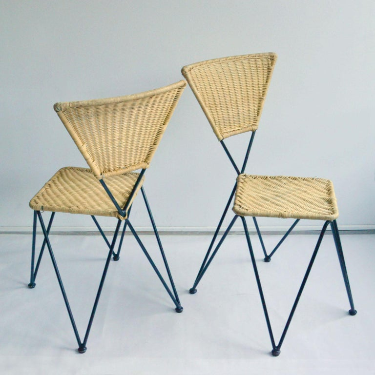 Mid-Century Modern Pair of Wicker and Metal Dining Chairs, Vienna, 1950