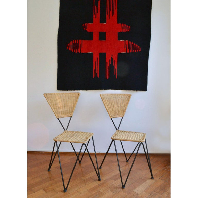 Austrian Pair of Wicker and Metal Dining Chairs, Vienna, 1950