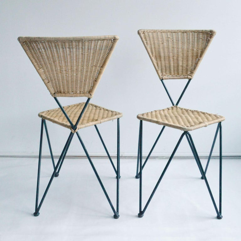 Metalwork Pair of Wicker and Metal Dining Chairs, Vienna, 1950