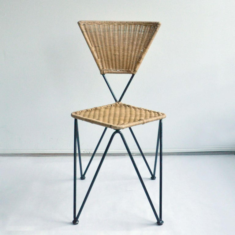 Pair of Wicker and Metal Dining Chairs, Vienna, 1950 In Excellent Condition In London, GB