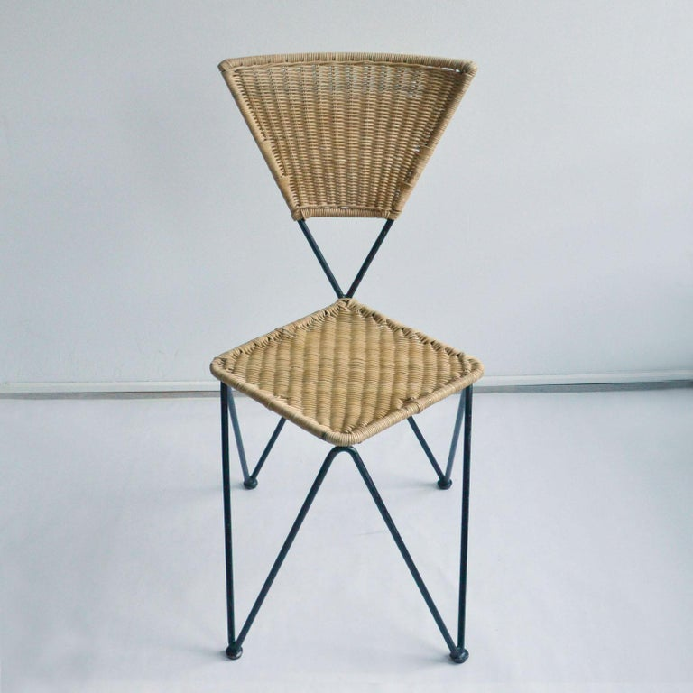 Steel Pair of Wicker and Metal Dining Chairs, Vienna, 1950