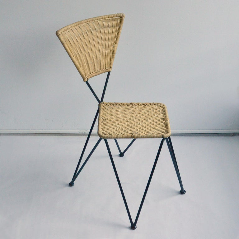 Pair of Wicker and Metal Dining Chairs, Vienna, 1950 1