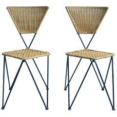 Pair of Wicker and Metal Dining Chairs, Vienna, 1950