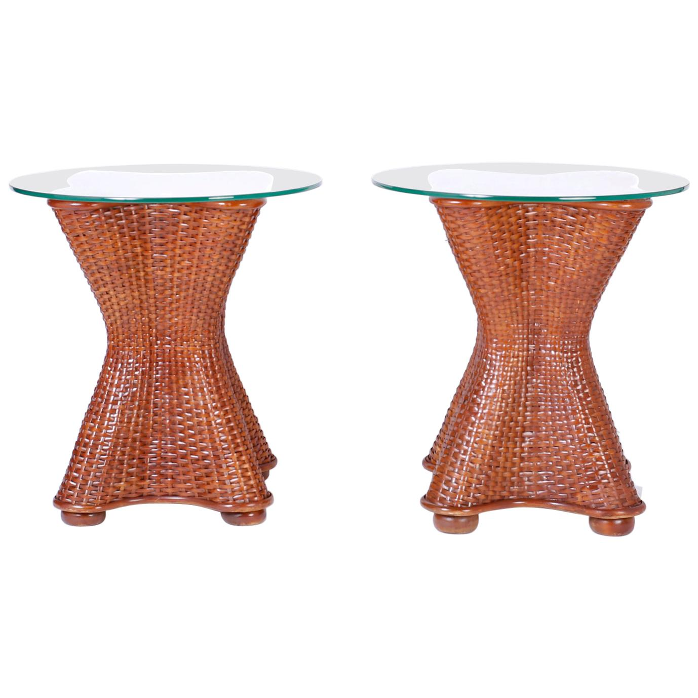 Pair of Wicker and Rattan Stands