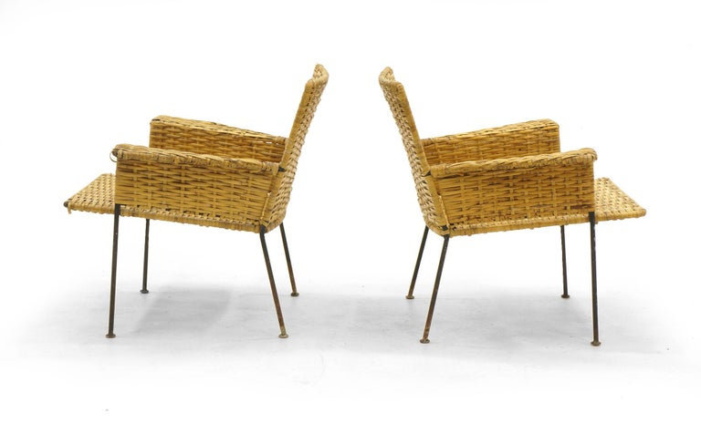 Magnificent Pair Of Wicker And Wrought Iron Chairs By Van Keppel And Green 1950S Ncnpc Chair Design For Home Ncnpcorg
