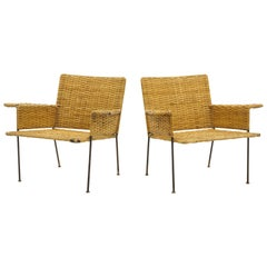 Pair of Wicker and Wrought Iron Chairs by Van Keppel and Green, 1950s